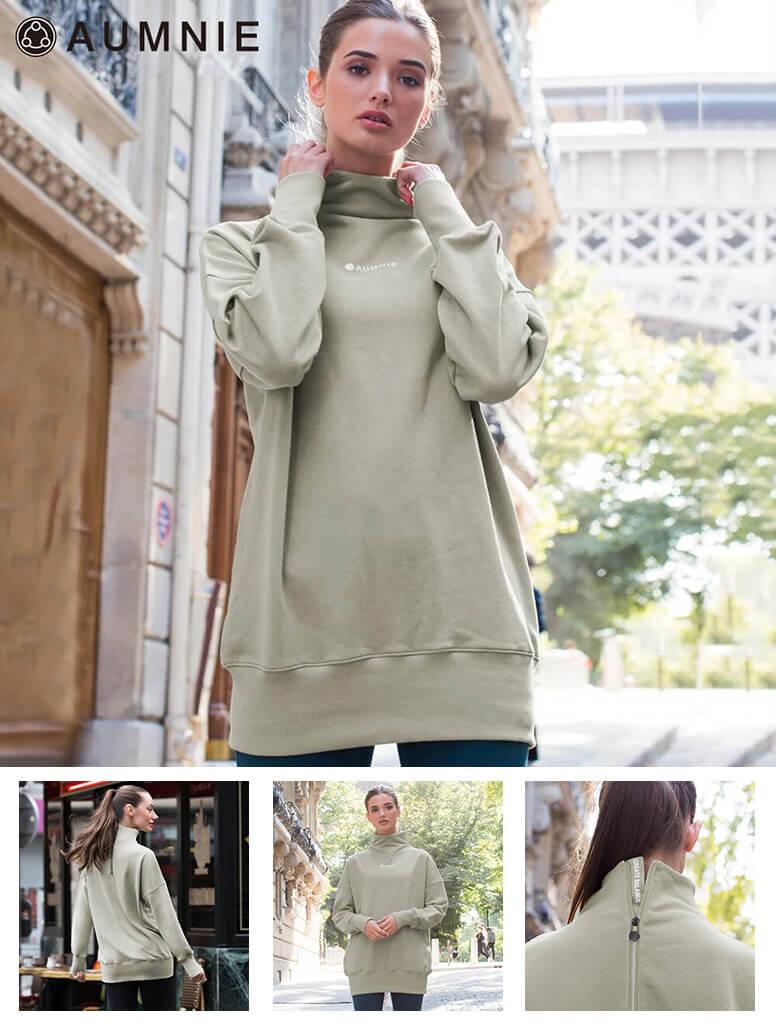 【アムニー】ロングスウェットシャツ グリーン class=