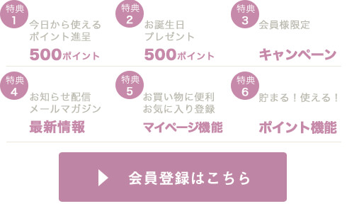 新規会員登録で500円分のポイントプレゼント中
